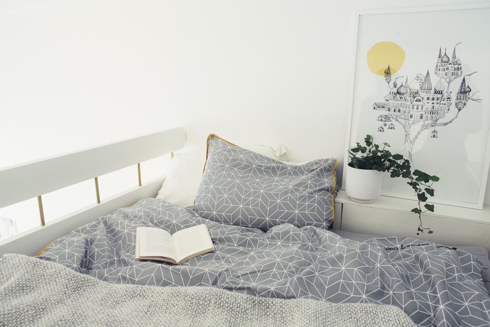 linge de lit géométrique
