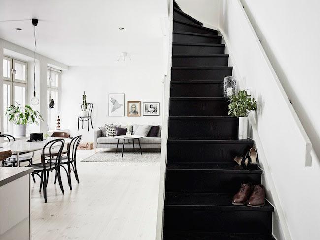 salon scandinave noir et blanc
